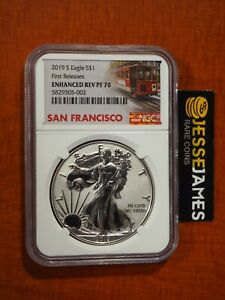 2019 S ENHANCED REVERSE PROOF SILVER EAGLE NGC PF70 FIRST RELEASES W/ BOX/COA