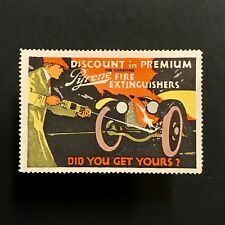 Poster Stamp * USA * 1914 Pyrene Fire Extinguisher Automobile