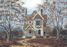 Victorian House Cottage Grandma Granny Kitty Cat Matted Art Print SIGNED Souders