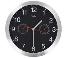 Wall Clock With Thermometer Black Waiting Room Restaurant Cafe Reception Analog