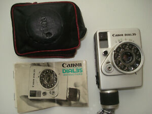 Canon Dial 35 cult classic 35mm compact half frame camera c/w case, instructions