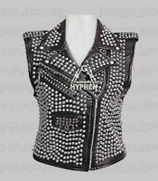 New Women Black Punk Full Silver Studded Unique Style Rock Biker Leather Vest