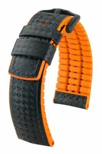Bracelet Structured Leather And Premium Rubber Black/Blue 0 25/32in