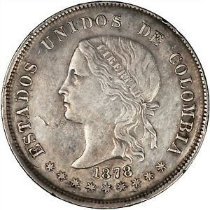 Colombia (Bogota) 1878 50 Centavos VF+