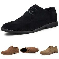 Mens Oxfords Lace up Pointy Toe Business Casual Dress Formal Suede Leather Shoes