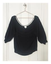 Women's Designer 3.1 Phillip Lim Black 3/4 Sleeve Top Size Medium