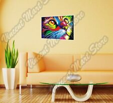 """Colorful Cat Pussycat Painting Abstract Wall Sticker Room Interior Decor 25""""X18"""""""