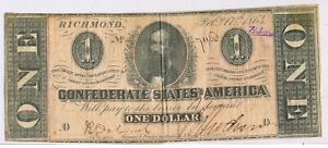 1864 $1 CONFEDERATE STATES OF AMERICA NOTE **LIGHTLY CIRCULATED** FREE SHIP!!