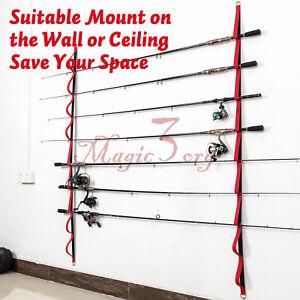 1 Pair Fishing Rod Holder Pole Rack Horizontal Pole Storage Ceiling Garage Wall