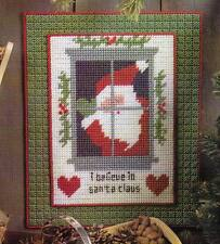 I BELIEVE WALL HANGING SANTA CHRISTMAS PLASTIC CANVAS PATTERN  INSTRUCTIONS