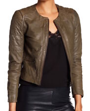Muubaa Women's Zomsa Quilted Leather Biker Jacket, Olive, US Size 4