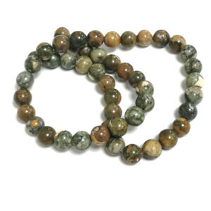 Green/Brown Rhyolite Beads Plain Round 8mm Strand Of 45+