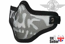 Airsoft Tactical Mesh Lower Face Protective Mask Military Paintball - Skull