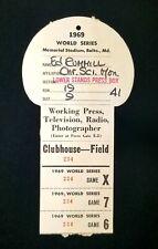 1969 World Series Press Pass Memorial Stadium Baltimore Orioles vs New York Mets