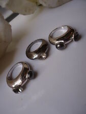 Swarovski Outstanding Rare Set Rhodium Deep Grey & Pearl 3 Stacker Rings Size J