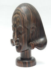 FINE CARVED WOOD SIWA BALI WOMANBUST HEAD SCULPTURE ~ 9.5""