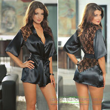 New Collection Silk Lace Kimono Dressing Gown Bath Robe Lingerie +G-string