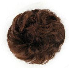 extension bollo en el cabello coletero rizado cobre de color marrón oscuro 17/31