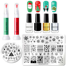Christmas Theme Nail Art Stamping Plates Kits with 6 Bottles Stamping Polish Set