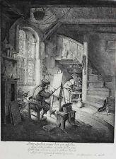 Adriaen Jansz Van Ostade Dutch 1610-1685 Etching  The Artist in his studio