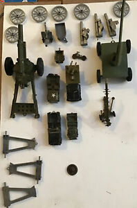 Vintage Plastic Metal Army Tanks Equipment  Tanks Personnel Carriers Jeeps USA