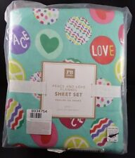 Pottery Barn Teen Peace And Love Flannel Sheet Set 4 Pc Pool Blue Multi Queen 92