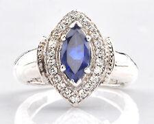 14KT White Gold 1.60 Carat Natural Blue Tanzanite IGI Certified Diamond Ring