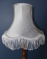Grey lampshade handmade in silk fabric vintage for standard lamp or ceiling