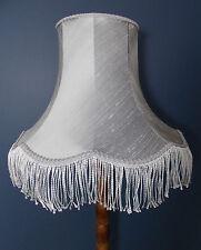 Grey lampshade handmade in silk fabric for standard lamp or ceiling grey fringe