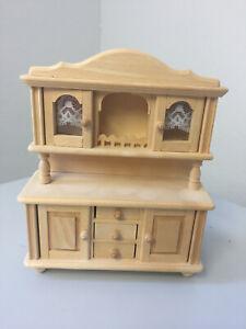 SCHRANK Küchenschrank VITRINE f. Puppenhaus Puppenstube - HOLZ - Miniatur -