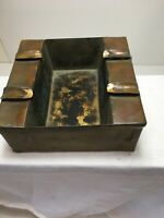"Arts & Crafts Vtg  Copper Ashtray 5"" Square And 2"" H  Handmade"