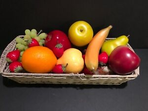 Faux Fake Fruit In a Country Basket Banana Grapes Apples Pears Strawberries