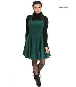 Hell Bunny Rockabilly Corduroy Mini Dress WONDER YEARS Pinafore Green All Sizes