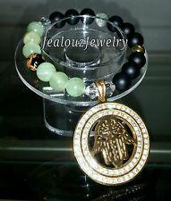 Gold Lucky Hamsa Wealth Yoga Gemstone Stretch Bracelet Arm Candy Medallion