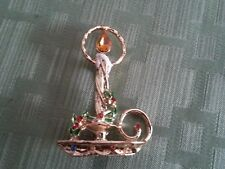 "Christmas Candle GOLD Pin with Gold, Red, Green and Blue Jewels - 2"" H x 1 1/2""W"