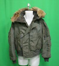 US Military Sage Green Cold Weather Flying Flight Jacket Hooded Fur N-2B Large