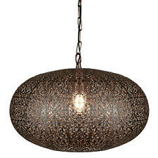 Searchlight Fretwork Antique Copper Moroccan Style Shade Ceiling Pendant Light