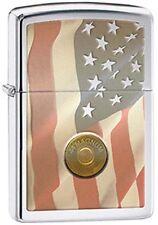 Drapeau Américain Patriotique Stars & Rayures Avec 44 Magnum Chrome Briquet