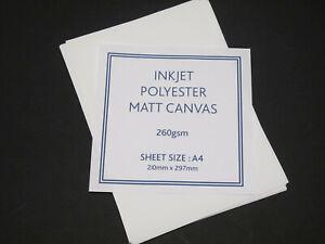 Inkjet Polyester Matt Canvas - 10 x A4 Sheets - 260gsm
