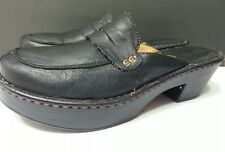 BOC Born Black Leather Platform Sandals Heels Clogs Mules Shoe Women's sz 9 / 39