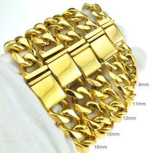 18k Gold Plated 9-16mm Stainless Steel Miami Cuban Bracelet Men Women
