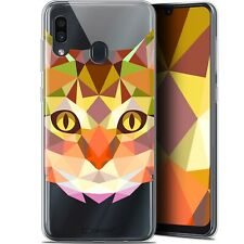 "Gel Case Cover for Samsung Galaxy A30 (6.4 "") Extra Fine Polygon Animals - Cat"