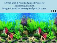 "19"" Tall Shell & Plant Background on Plastic Poster for Aquarium / Vivarium 115"