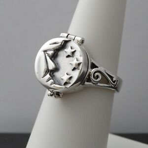 Crescent Moon Poison Ring - 925 Sterling Silver - Locket Suicide Ring Stars