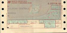 BIGLIETTO DEL TRENO FERROVIE F.S. = BOLOGNA CENTRAL / MODENA - 1986 -  (C10-901)