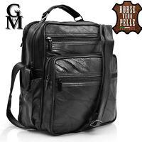 GM borsello borsa tracolla grande uomo manico vera pelle tasche elegante nero