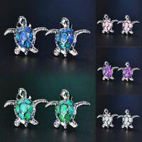 1 Pair Earring For Woman 925 Silver Turtle Blue Fire Opal Charm Ear Stud Jewelry