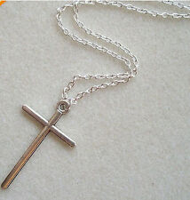 Cross Necklace Simple Crucifix Skinny Pendant Silver Chain Long Mens Ladies New