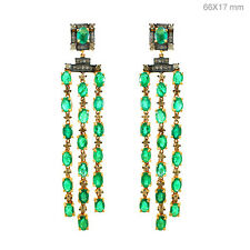 Emerald Gemstone 925 Silver 2.22ct Diamond Pave Chandelier Earrings 14k Gold NEW