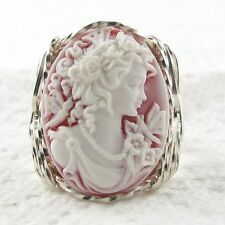Goddess Butterfly Red Cameo Ring .925 Sterling Silver Jewelry Resin Any Size